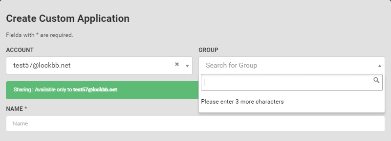 Improved template for creating custom apps and changed the search criteria for groups and accounts