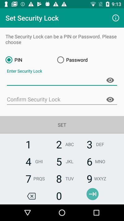 Setting Security Lock is a mandatory step of the initial app setup.