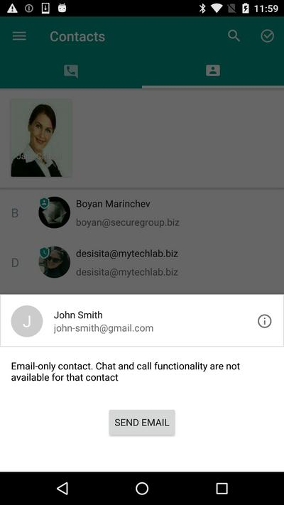 Non-Secure Chat contacts can only be reached via email.