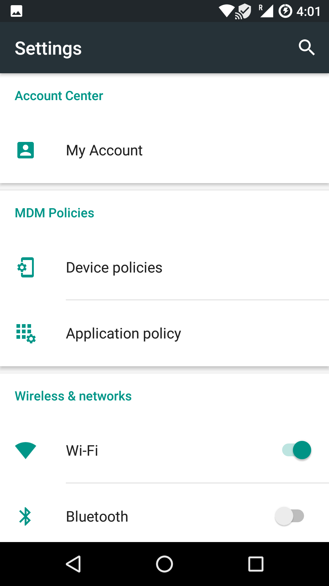 The re-arranged Settings menu