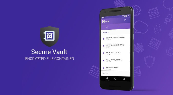 A mobile device with Secure Vault app opened (an encrypted file container) and Secure Vault app icon
