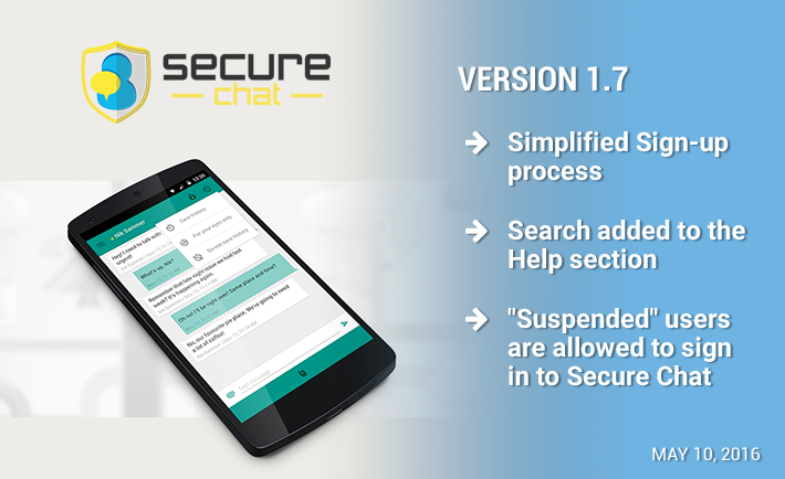 New official release: Secure Chat 1.7