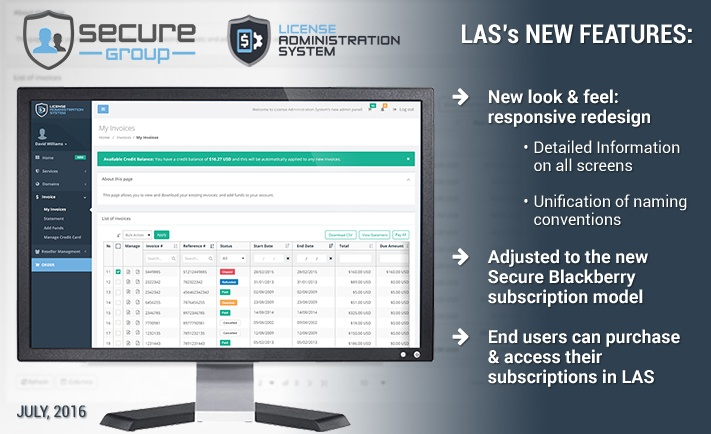 Complete new redesign of Secure Group's License Administration System