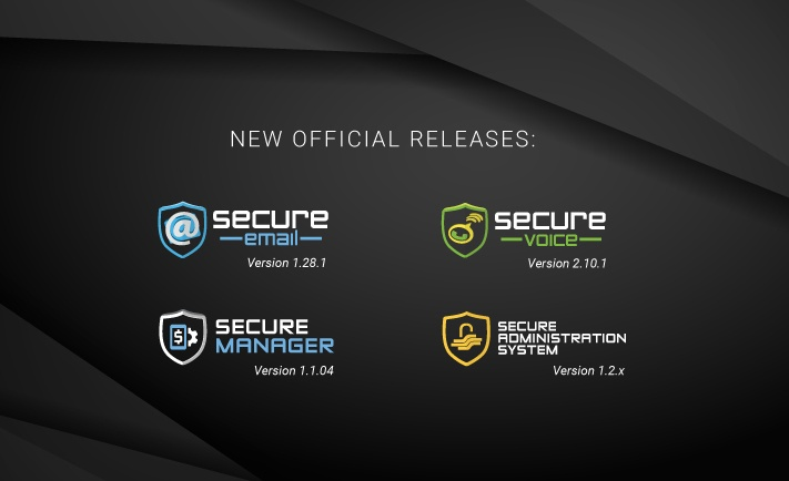 New releases: Secure Email 1.28.1, Secure Voice 2.10.1, Secure Manager (LAS) 1.1.04, Secure Administration System (SAS) 1.2.x