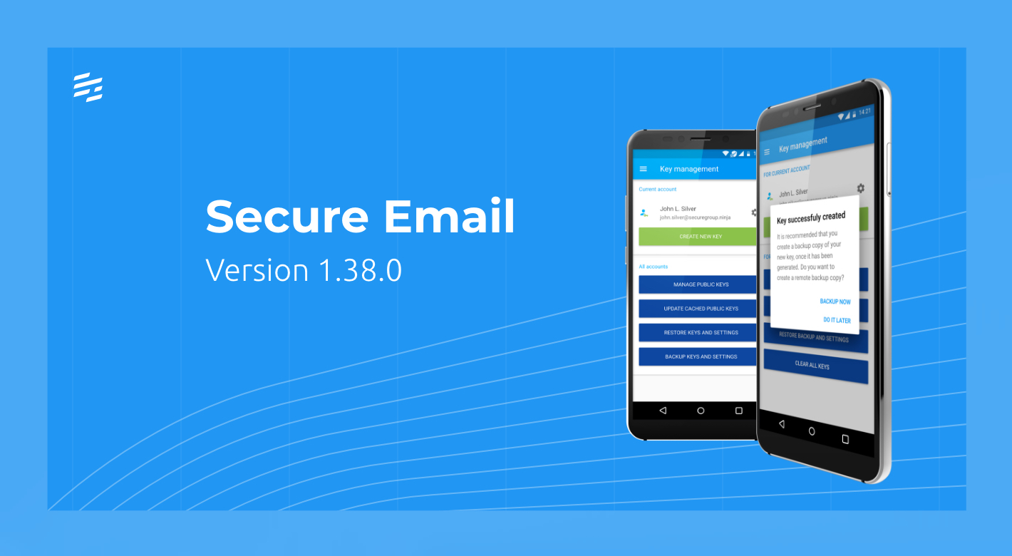Secure Email 1.38.0: Automated Key Backup and Syncing with Secure Chat Contacts